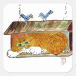 Bird Feeder and Orange Tiger Cat Square Sticker