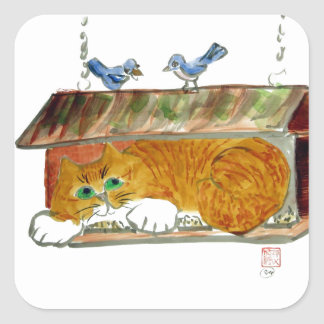 Bird Feeder and Orange Tiger Cat Square Sticker