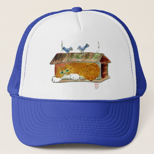 Bird Feeder and Orange Tiger Cat Trucker Hat