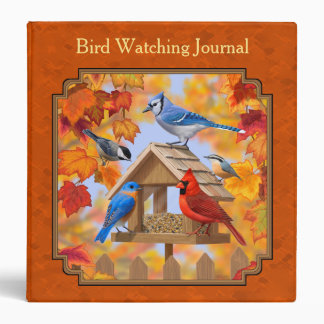 Bird Feeder Gathering Autumn Orange 3 Ring Binder