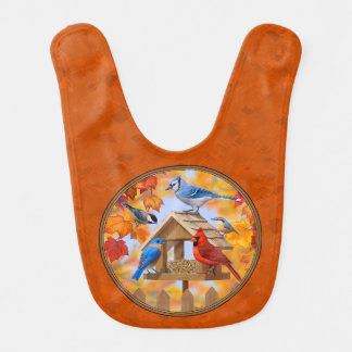 Bird Feeder Gathering Autumn Orange Baby Bib