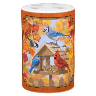 Bird Feeder Gathering Autumn Orange Bath Set
