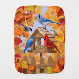 Bird Feeder Gathering Autumn Orange Burp Cloth
