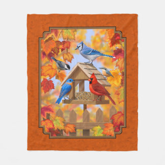 Bird Feeder Gathering Autumn Orange Fleece Blanket