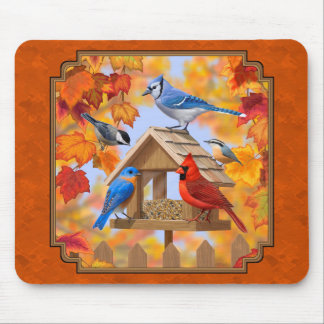 Bird Feeder Gathering Autumn Orange Mouse Pad