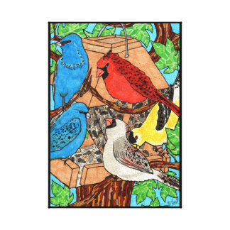 Bird Feeder Gathering Canvas Print