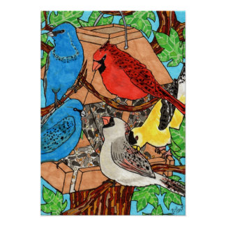 Bird Feeder Gathering Poster