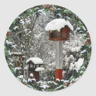 BIRD FEEDERS & SNOW by SHARON SHARPE Classic Round Sticker