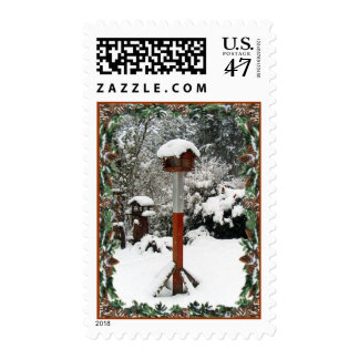 BIRD FEEDERS & SNOW by SHARON SHARPE Postage