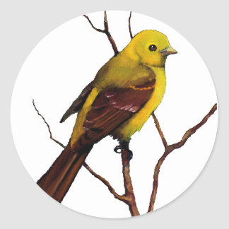 Bird: Female Western Tanager: Original Art Classic Round Sticker