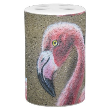 Beach Themed Bird Flamingo Pink Feathers Destiny Destiny's Soap Dispenser & Toothbrush Holder