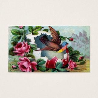 Bird Flies Out of Easter Egg Victorian Business Card