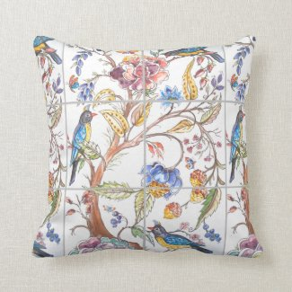 Bird Floral Oriental Tile Colorful Chinoiserie Throw Pillow