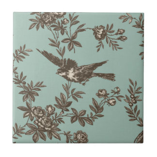 Bird flower toile tile
