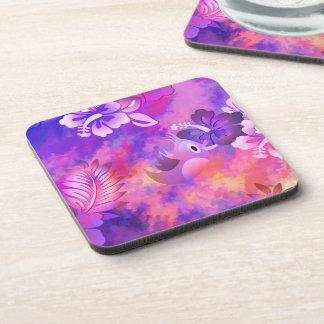 Bird Flowers Abstract Hard Plastic Coasters