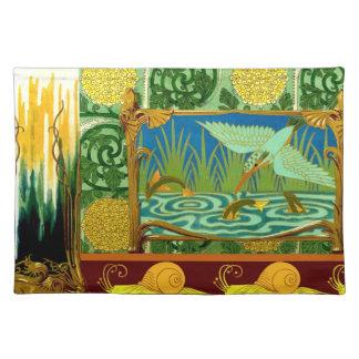 Bird Flowers Art Nouveau Design Elements Fabric Place Mat