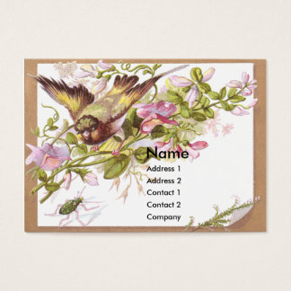 Bird, Flowers & Bug Victorian Trade Card