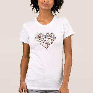 Bird Flowers Love Heart T Shirt