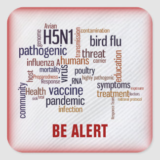 Bird Flu Awareness Feather Name Gift Tag Bookplate Square Stickers