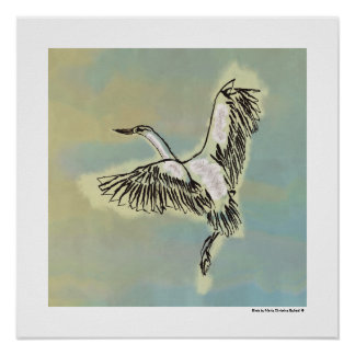 Bird Flying Blue Sky Original Deco Painting Print