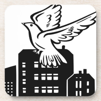 Bird flying by factory beverage coaster