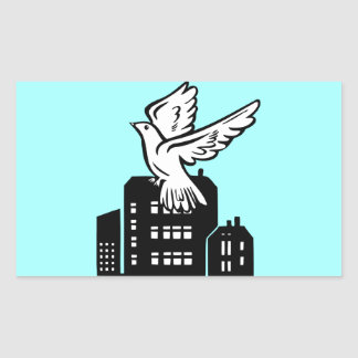 Bird flying by factory rectangular stickers