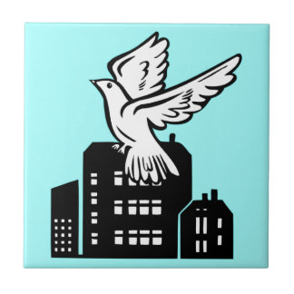 Bird flying by factory tiles