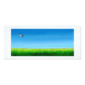 Bird flying colorful painting original art Easy 4x9.25 Paper Invitation Card