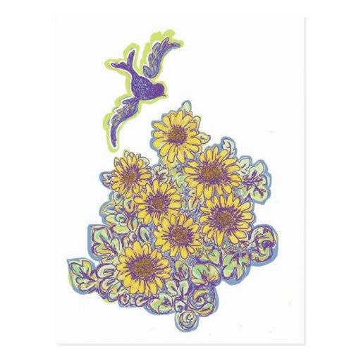Bird flying over Sunflower Patch Postcard