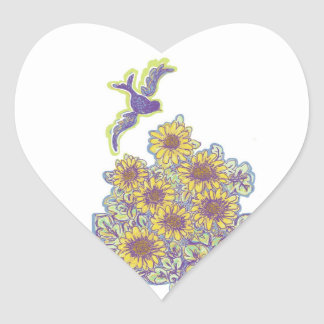 Bird flying over Sunflower Patch stickers