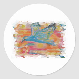 Bird Flying watercolor aceo printed on Classic Round Sticker