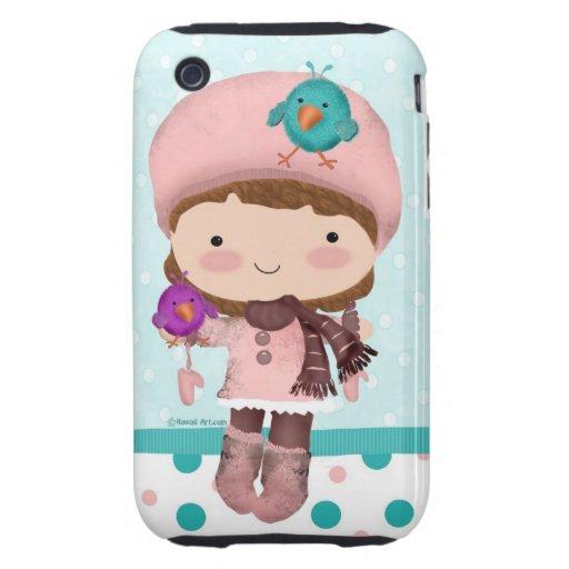 Bird Girl Cute iPhone 3GS Case Tough iPhone 3 Case