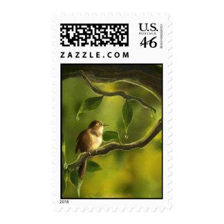 bird green jungle stamp