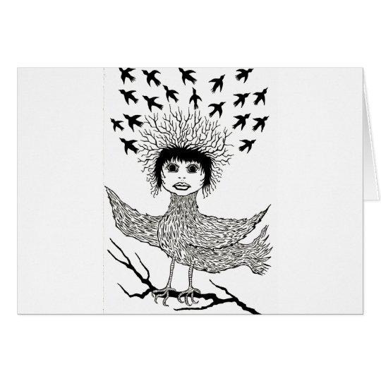 bird hair day card