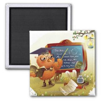 Bird holding a book and teaching at a blackboard fridge magnet