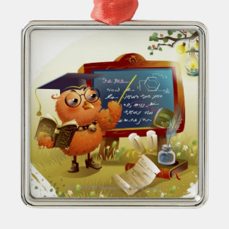 Bird holding a book and teaching at a blackboard christmas ornaments