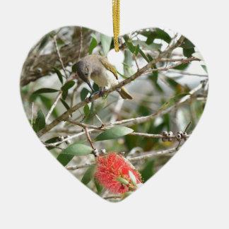 BIRD HONEY EATRE & BOTTLE BRUSH AUSTRALIA CERAMIC ORNAMENT