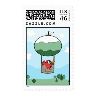 Bird Hot Air Ballon - Postage Stamp