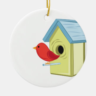 Bird House Ceramic Ornament