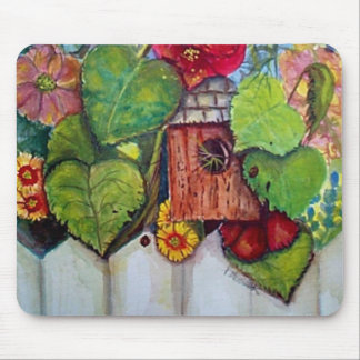Bird House Cottage Garden Mouse Pads