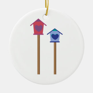 Bird House Double-Sided Ceramic Round Christmas Ornament