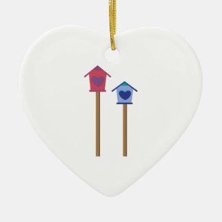 Bird House Double-Sided Heart Ceramic Christmas Ornament