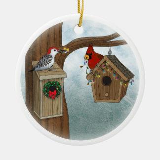 Bird House Holiday Ceramic Ornament