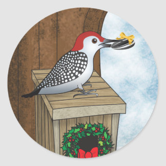 Bird House Holiday Classic Round Sticker