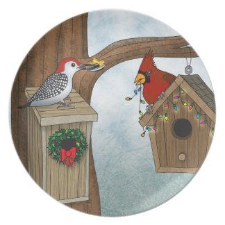 Bird House Holiday Melamine Plate