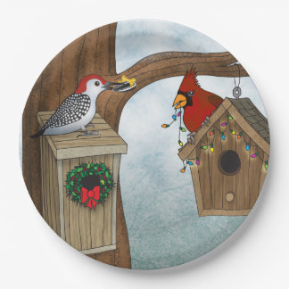 Bird House Holiday Paper Plate