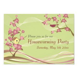 Bird House Housewarming Party Inviation Green 5x7 Paper Invitation Card