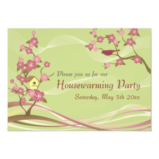Bird House Housewarming Party Inviation Green Custom Invites