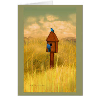 Bird house in country 2 bluebirds painting card