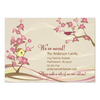 Bird House Moving Announcement Flat Card Gray